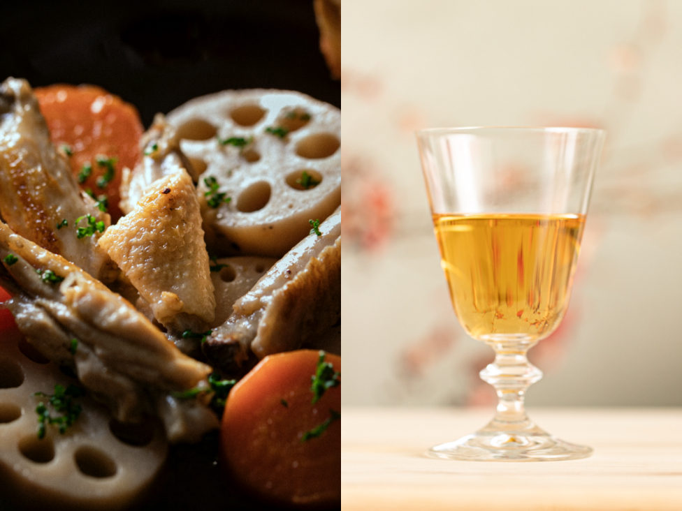 #1 根菜と鶏のバターナンプラー蒸し煮×オレンジワイン